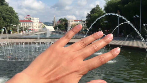 hand touching landscape Batumi, Adjaria Georgia Singing fountains in Batumi Footage