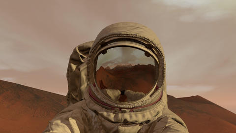 Colony on Mars. Astronaut sitting on Mars and admiring the scenery. Exploring Live Action