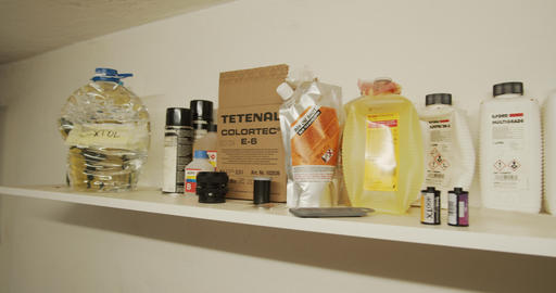 Photo chemicals for film developing in homemade photo lab - kodak, ilford, fujifilm Footage