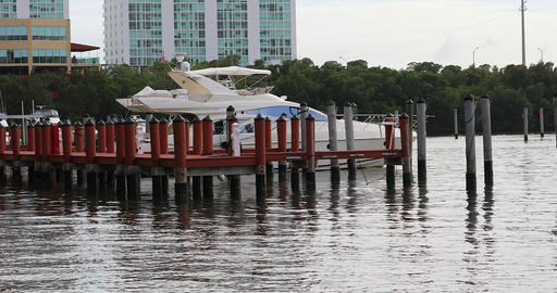 Boat At Wooden Pier Footage