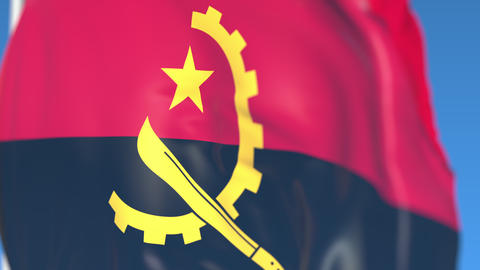 Waving national flag of Angola close-up, loopable 3D animation Footage