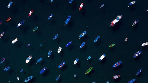Aerial hyperlapse of anchored boats off the coast. Las Teresitas, Tenerife Footage