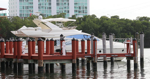 White Luxury Motor Boat At Wooden Pier Footage