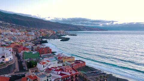 Aerial View of Candelaria - City, Atlantic Ocean and Basilica near the capital Footage