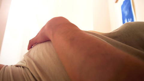 pregnant woman of the ninth month, caressing her belly Footage