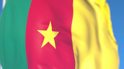 Waving national flag of Cameroon close-up, loopable 3D animation Footage