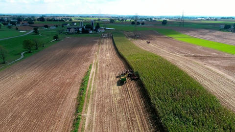 Amish Farmers Harvesting there Fall Crops as Seen by Drone Footage