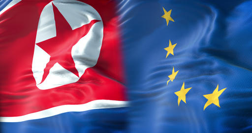 half north korea flag and half European Union flag, crisis european states diplomacy and north korea Live Action