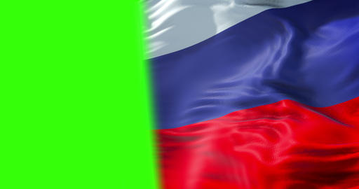 flag of russia waving in the wind, russian federation flag, with chroma key green screen background Live Action