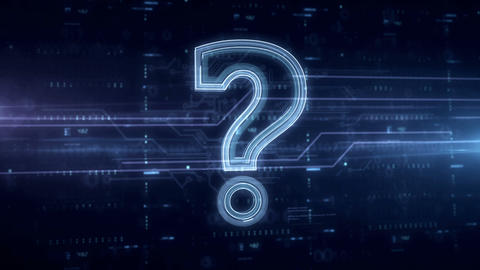 Question mark symbol blue hologram Animation