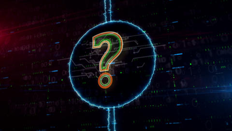 Question mark symbol hologram in electric circle Animation