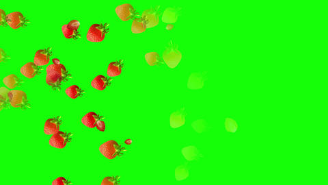 Strawberries falling down against green background Animation