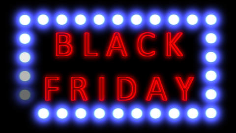 The word BLACK FRIDAY neon sale text promotional banner Animation