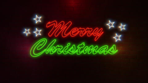 Merry Christmas greeting message with neon colours and rotating stars flickering on brick wall Animation