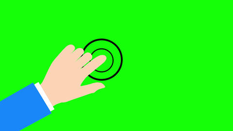 Flat Cartoon style hand touch animation on green background Animation