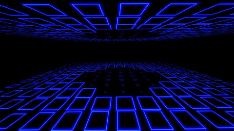 Empty disco club room illuminated with blue square neon flashing lights Animation
