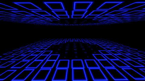 Empty disco club room illuminated with blue square neon flashing lights Animation