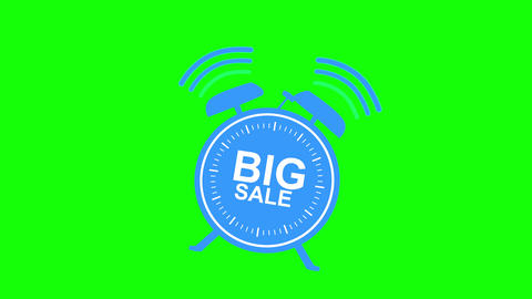Big blue sale alarm clock animated on green background Animation