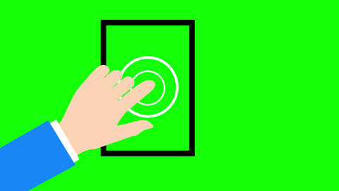 Animated flat cartoon style hand showing touch gesture on device against green screen with alpha Animation