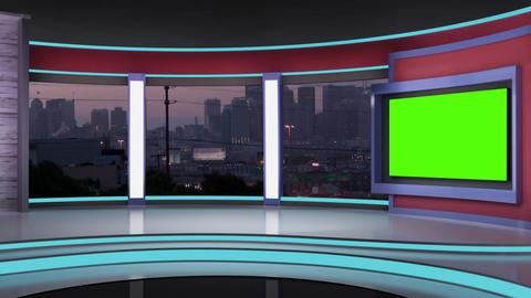 News TV Studio Set 193- Virtual Green Screen Background Loop Footage