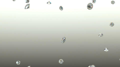 Diamonds scattering or flying away over studio light background with Alpha Animation