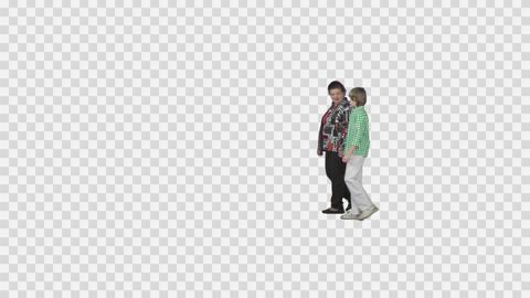 Grandmother and grandson walks holding hands. Transparent background Footage