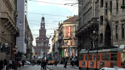 "Europe Italy Lombardy Region Milan 013 trams in street "" Via Orefici "" with  Footage"