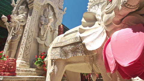 Closeup Large White Elephant Statue in Buddhist Temple Footage