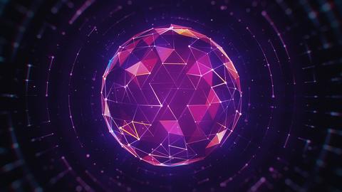 Hi-Tech Multicolored Polygonal Sphere on Dark Background Animation