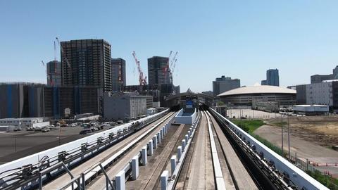 Japanese railway car window. View during urban development Footage