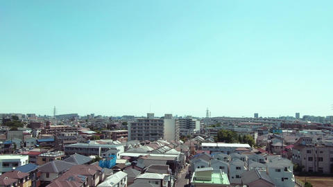 Japanese railway car window. Tokyo residential area Footage