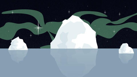Global Warming Iceberg Melting with Northern Lights Footage