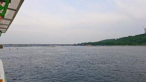 4K, the ship sails on the wide river Dnieper near the Kiev-Pechersk Lavra Before Footage