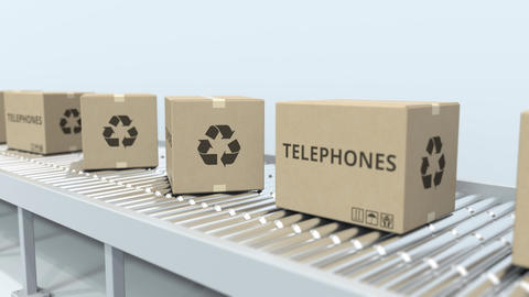 Cartons with telephones on roller conveyor. Loopable 3D animation Live Action