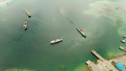 Cargo ships moored in the bay Footage