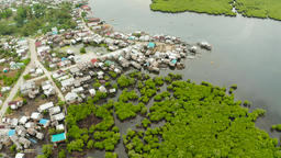 Aerial view The town is in mangroves. Siargao,Philippines Footage