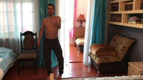 Sportive Happy Successful Businessman Dancing at Home, funny, seducing Footage