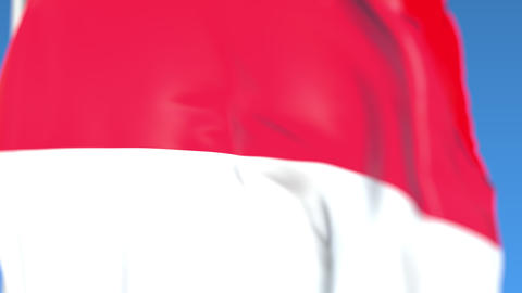 Flying national flag of Indonesia close-up, loopable 3D animation Footage