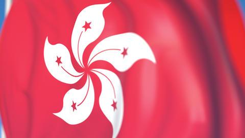 Waving national flag of Hong Kong close-up, loopable 3D animation Footage