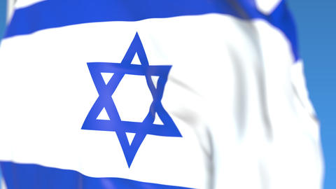 Waving national flag of Israel close-up, loopable 3D animation Footage