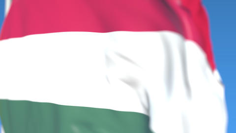 Flying national flag of Hungary close-up, loopable 3D animation Footage