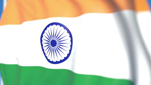 Waving national flag of India close-up, loopable 3D animation Footage