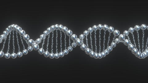 DNA molecule model made of metal balls. Loopable 3D animation Footage