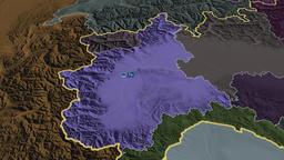 Piemonte - region of Italy. Administrative Animation