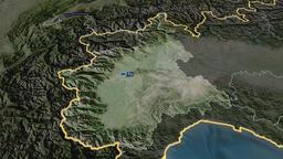 Piemonte - region of Italy. Satellite Animation