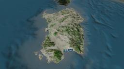 Sardegna - autonomous region of Italy. Satellite Animation