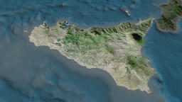 Sicily - autonomous region of Italy. Satellite Animation