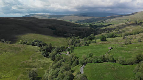 An aerial static shot looking at the countryside around Dent (V391) Footage
