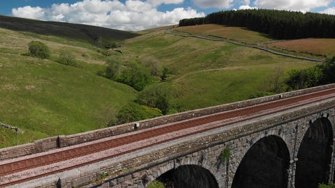 Descending shot looking at the Dent Head Viaduct 1 (V394) Live Action