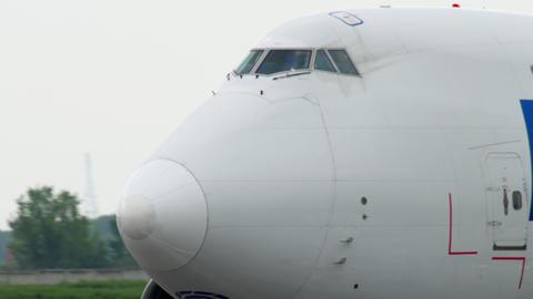 Airfreighter braking after landing Footage